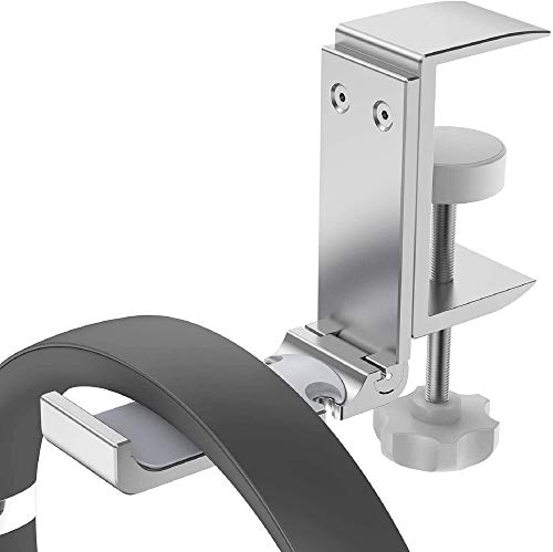 Headphone Stand Holder Hanger, Universal Fit Built in Cable Clip Organizer Desk Earphone Stands Mount Headset Hook Hangers (High-end Silver)