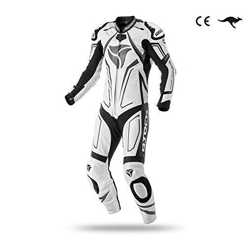 R-Tech Mono de piel Rising Star Mix Kangaroo Una pieza CE Aprobado (54, Blanco/negro)