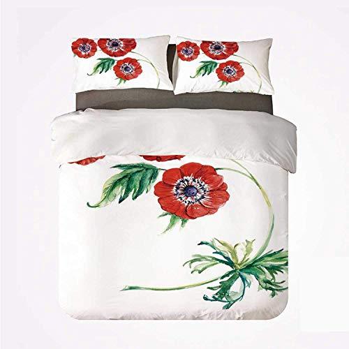 Juego de Funda nórdica Anemone Flower Warm 3 Juego de Cama, Tres Flores Rojas en Estilo de Pintura de Acuarela Botánica de floración de Verano para habitación