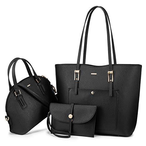 LOVEVOOK Handtasche Damen Tasche Leder Shopper Damen Groß Taschen Gross Schultertasche Handtaschen Set Schultasche Mädchen Teenager Schuhe Tote Bag Bags Umhängetasche, Schwarz