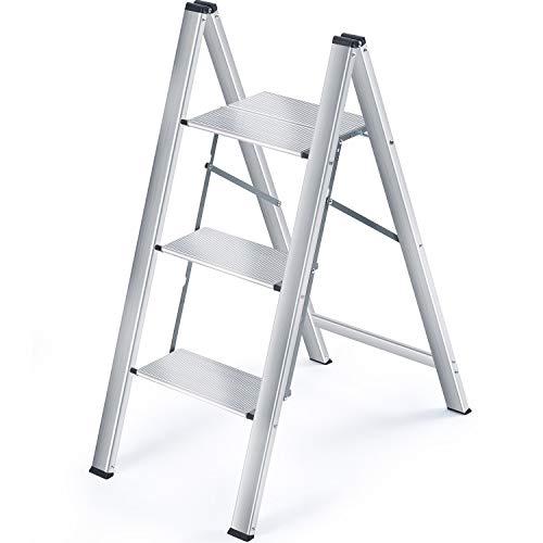 Kingrack Klappleiter,Stufenleiter,Haushaltsleiter,Alu Leiter,Leiter mit 3 Stufen, Belastbar bis 200 lbs