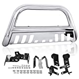 AUTOSAVER88 3' Bull Bar Compatible for 09-18 Dodge Ram 1500 with Skid Plate Light Mount Front Bumper Brush Push Grill Guard Stainless Steel Silver