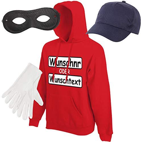 Shirt-Panda Herren Hoodie Panzerknacker Kostüm + Cap + Maske + Handschuhe Verkleidung Karneval SET15 Hoodie/WN/Cap/Maske/Handschuhe L