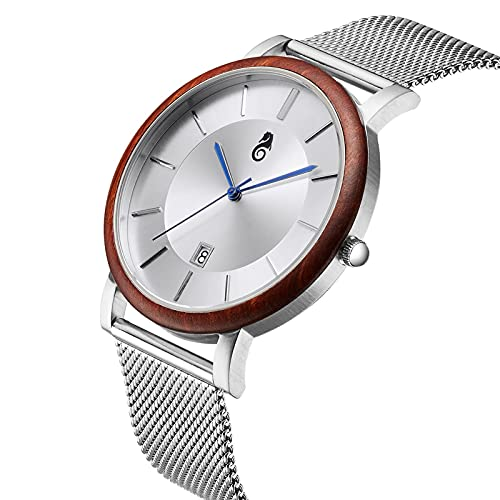 yuyan Luxuriöse rote Sandelholz-Armbanduhr, ultradünn, Stahlbox, Holz, großes Zifferblatt, Herren, Business-Armbanduhr, wasserdicht, umweltfreundlich