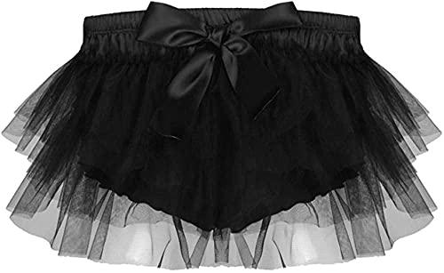 YXYSHX Lencería para Mujer Falda Sexy para Hombre Satén con Volantes Lencería Calzoncillos Falda de Tul Calzoncillos Ropa Interior Shorts-Black_X-Large