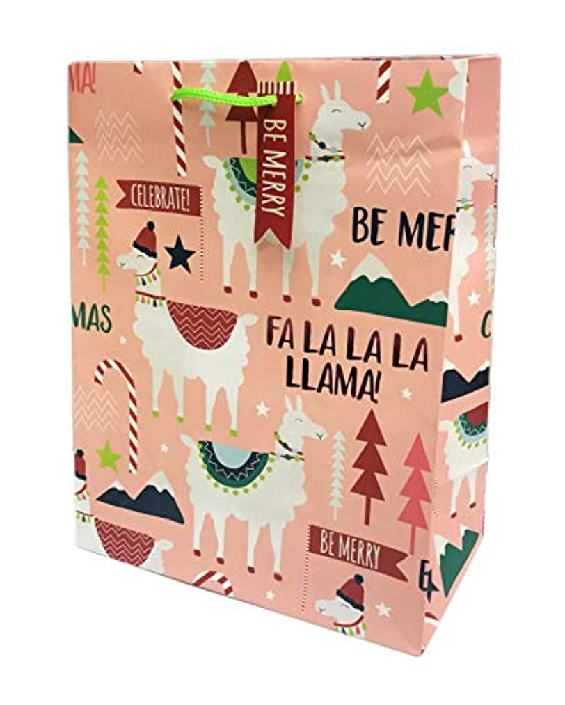 Be Merry FA La La Llama Holiday Llamas Christmas Gifting Happy Holidays Party Gift Bag (Peach)