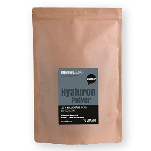 Wohltuer Premium Hyaluron Pulver 10g | Reine Hyaluronsäure Pulver hochdosiert | Hyaluron niedermolekular, pur & vegan | Für Hyaluron Kosmetik Serum, Gesichtscreme & Nahrungsergänzung