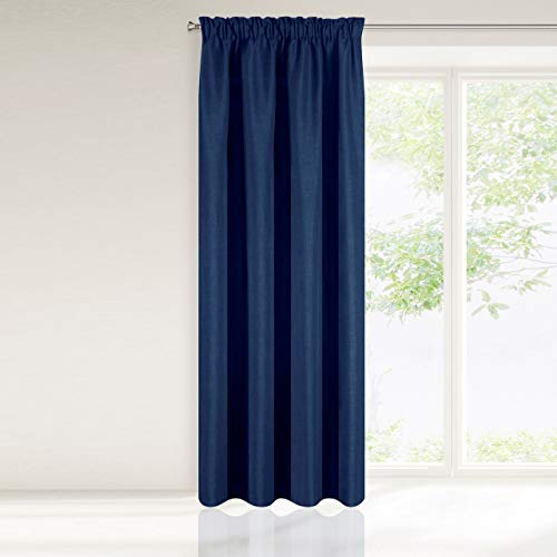Eurofirany Gordijn Gordijn Donkerblauw Blauw effen linnenbinding glad plooiband 1 st. Eco Scandinavische stijl design mat modern klassieke woonkamer slaapkamer, polyester, 140x270 cm