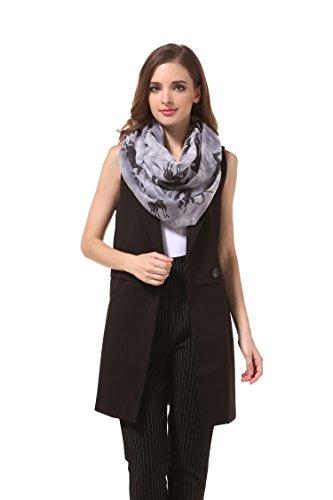 MANUMAR Loop-Schal für Damen | Hals-Tuch in grau schwarz mit Pferde Motiv als perfektes Herbst Winter Accessoire | Schlauchschal | Damen-Schal | Rundschal | Geschenkidee für Frauen und Mädchen