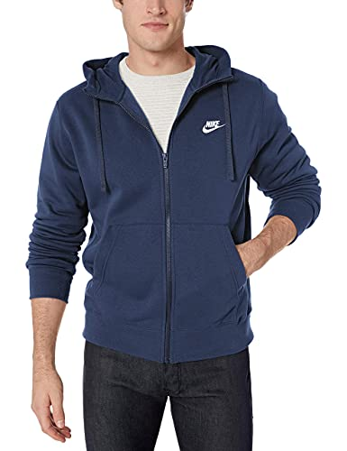 NIKE M NSW Club Hoodie FZ BB Sweatshirt, Hombre, Midnight Navy/ Midnight Navy/ White, S