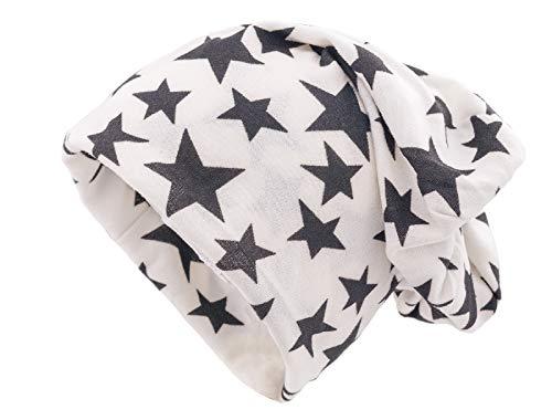 Shenky - Long Bonnet Tombant - Jersey - Blanc avec étoile Noire