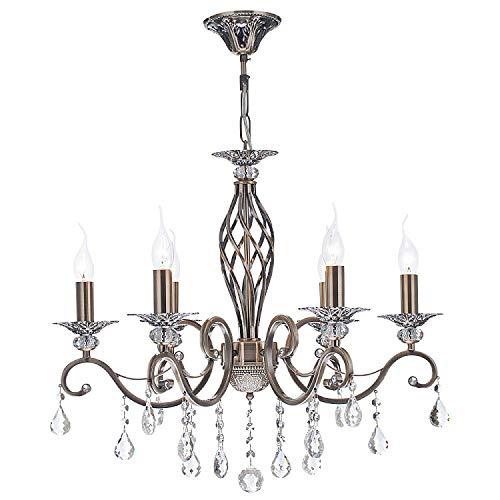 Wundervoller französischer Kronleuchter Kerzen, Klassischer Stil, Lackierung in Farbe Bronze, zahlreiche echte Kristalle, höhenverstellbar, 6-flammig, exkl. E14 60W 220V-240V