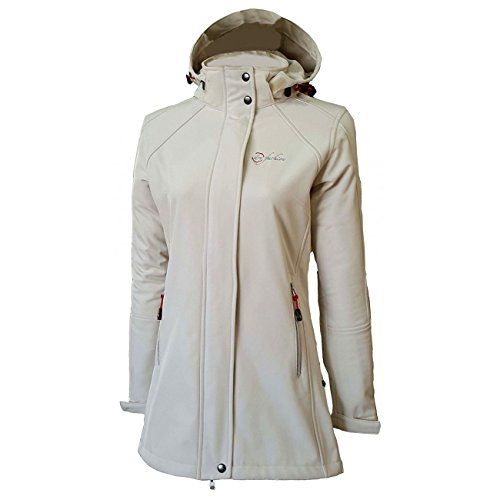 Dry Fashion Damen Softshell Mantel Sylt tailliert Regenmantel Regenjacke, Größe:46, Farbe:cremeweiß