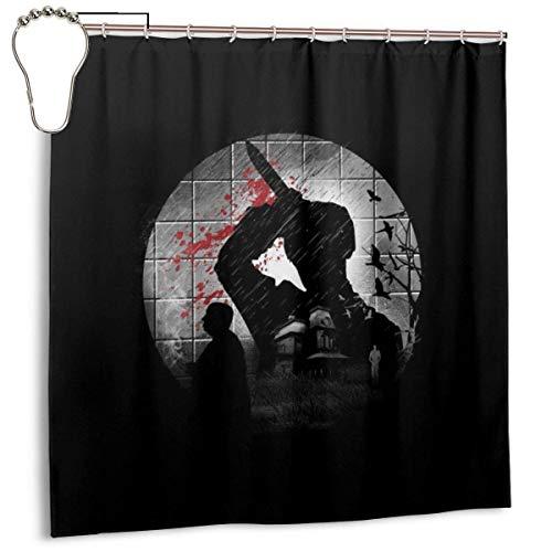 NBHJU Wasserdichter Duschvorhang aus Polyestergewebe Psycho Silhouette Alfred Hitchcock Print Dekorativer Badezimmervorhang mit Haken, 72 '' x 72