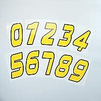 mcd(mcd)選べる ゼッケンステッカー 10cmタイプ 黄色 切込み文字 数字1文字分 ナンバー レース 防水 UVカット加工 デカール(3)