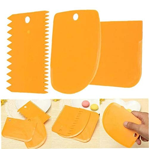 3PCS / Set Teig Cutter Kuchen Brotschneidemaschine Backen Pasty Werkzeuge Kuchen Scraper Spatelblatt Orange