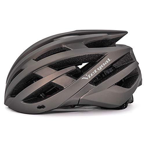 VICTGOAL 自転車 ヘルメット 大人用 ロードバイク ヘルメット 超軽量 高剛性 充電LEDライト 男女兼用 ヘルメット通気 サイズ調整可能 57-61 cm M L (钛)