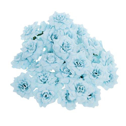 50pcs Künstliche Seide Rosen Blütenköpfe Blumen-Köpfe Hochzeit Parteidekor Bulk - Blau