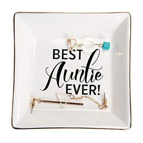 HOME SMILE Aunt Gifts Trinket Dish -Best Auntie Ever,Birthday Gifts for Auntie from Nephew or Niece