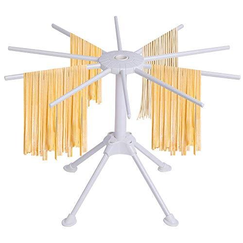 Soporte plegable para secadora de pasta – Soporte para secador de fideos, soporte para fideos, soporte de secado de espagueti, con 10 asas de barra de plástico ABS