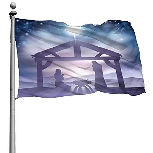 Bandera tradicional de escena de paisaje de invierno de Navidad 4x6 pies Bandera de poliéster cosida grande Bandera estándar colgante exterior