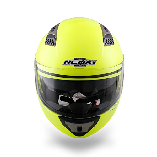 NENKI NK-860 casco de la moto de la motocicleta ciclomotor tir/ón encima de cascos modulares Crash para Hombre Large Hi Viz