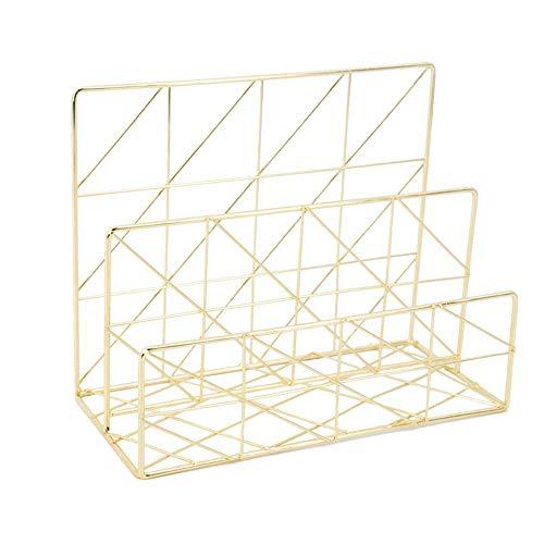 Equipo para el hogar Revistero de escritorio Soporte de archivo de revista de alambre de metal Compartimiento Organizador de almacenamiento de escritorio de 2 ranuras Soporte de estante Revistero d
