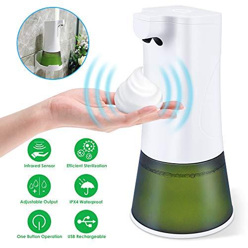 FITA Automatischer Seifenspender, 350ML Seifenspender Automatisch Sensor Infrarot Schaum Seifenspender Wandmontage Standmontiert No Touch für Küchen und Badezimmer, mit Wandhalterung & USB-Kabel