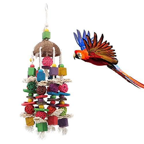Gedourain Juguete para Colgar Loros, Ayuda a acicalar el Juguete para Masticar pájaros Colores de Calidad alimentaria para pájaros domésticos para Loros medianos y Grandes