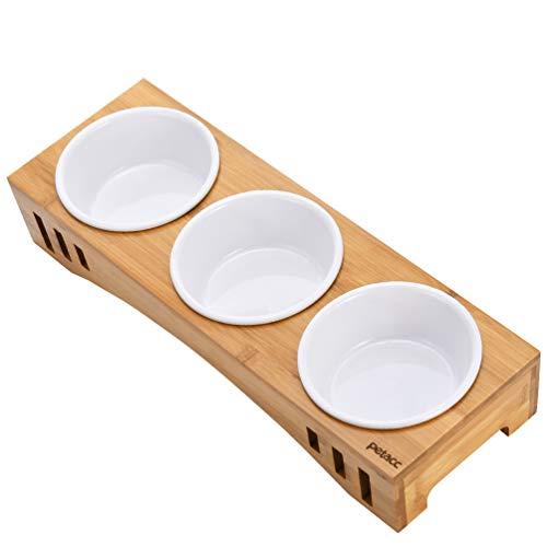 Petacc Katzennäpf Hundenäpf, Futterschüssel Katze Hunde und Hoch Trinknapf, rutschfest von Bambus Ständer Futternäpfe für Katzen und Hunde