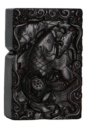 Natürliches Ebenholz Schwarz Holz geschnitzt Feuerzeug Außengehäuse für Zippo Insert Kit (Lotus Fisch)