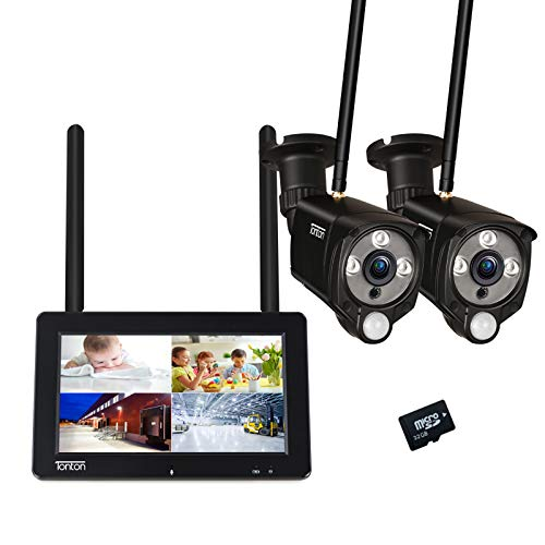 """【PIR Sensor+Farbe Nachtsicht】Tonton 3MP Überwachungskamera Set mit Monitor 4CH 7\""""Zoll Touchscreen mit Akku, 2*3MP WLAN IP Kamera LED Strahler Innen Außen Zwei-Wege-Audio, Pre-Aufnehme, 32GB SD Karte"""