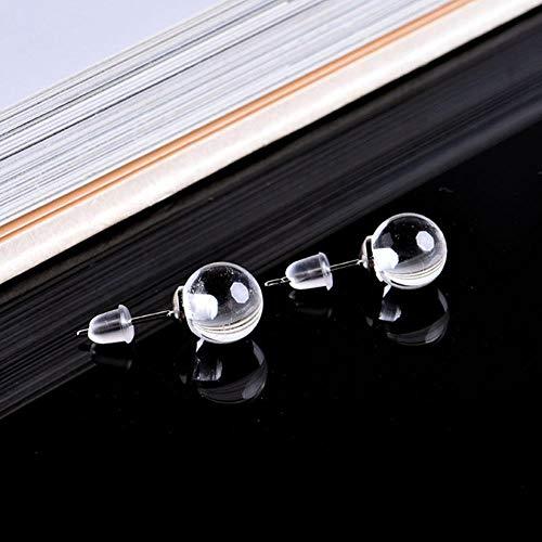 SDJH Pendientes de Piedra Natural de 8 mm Bola de Cuarzo de Cristal Beasilver Pendientes Salvajes de Moda Simple Regalo de niña, Cristal Blanco