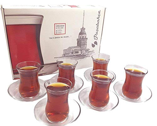 Juego de vasos y platillos turcos de té, diseño Pasabahce, juego de 6 unidades, 120 cm³. 113 g. Apto para lavavajillas.