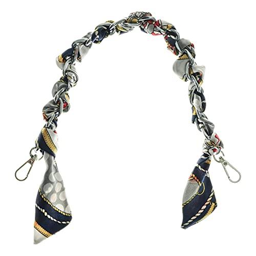 Freebily Taschenkette mit Seide Schals Handtasche Gliederkette mit Karabinerhaken Metall Schulterriemen Kette Ersatz für Damen Handtaschen Umhängetasche Geldbeutel Navy blau One Size