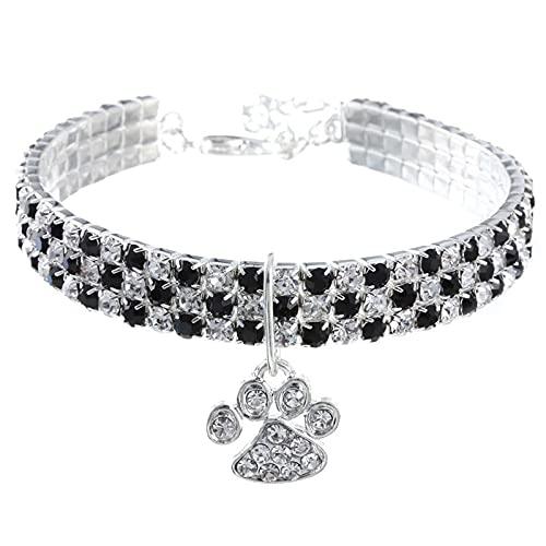 Flashing Collar de huellas de gatos, collar hecho por el hombre, collar para mascotas, color mixto, elástico, collar de joyería para perros (color: negro, tamaño: 25 cm + 5 cm)