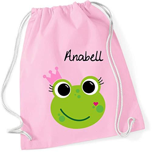 Turnbeutel mit Namen | inkl. Namensdruck | Motiv Frosch-Königin | Stoffbeutel Zuziehbeutel Rucksack Sportbeutel für Kinder Mädchen Krone (rosa)