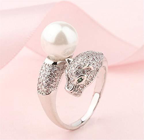 Losoul, anello regolabile con perla e testa di leopardo, con inserto in zirconia cubica, unico ed elegante anello da donna bianco