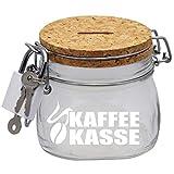 Kaffeekasse Spardose mit Korkdeckel und Sparschlitz in Glas S