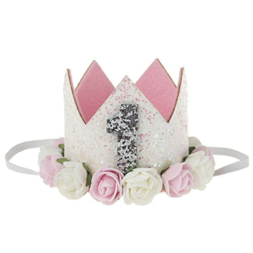 COUXILY 1 STK Geburtstag - Krone Stirnbänder Baby Birthday Tiara Mädchen Glänzend Krone Geschenksets Haarband (FS01)