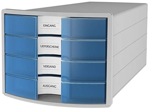 HAN Schubladenbox IMPULS 2.0 – innovatives, attraktives Design in höchster Qualität. Mit 4 geschlossenen Schubladen für DIN A4/C4, lichtgrau/transluzent-blau, 1012-64