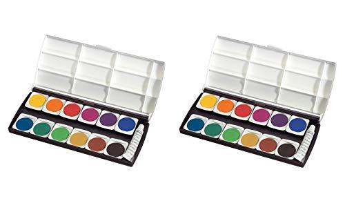Herlitz 10116655 Schulmalfarben bzw. Deckfarbkasten, 12 Farben inklusive Deckweiß (2er Pack, Deckfarbkasten)