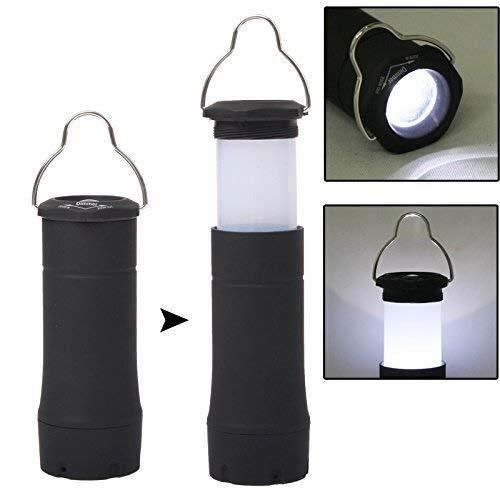 Allamp Linterna telescópica LED antorcha lámpara de Camping con el Clip de luz de iluminación al Aire Libre de la Linterna (Color: Negro)