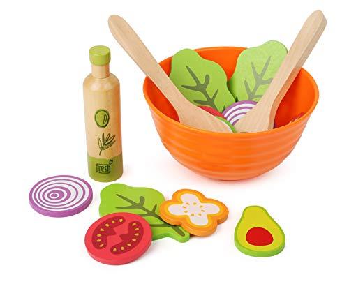 small foot company 11476 Juego de ensaladas de Madera, Accesorios de Cocina para niños Vegetarianos, Incl. Cuenco, ensaladeras y aderezos Juguetes, Multicolor (11476)