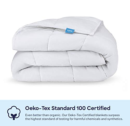 LUNA Adult Weighted Blanket | Individual Use - 15 lbs - 60x80 - Queen Size Bed | 100% Oeko-Tex Certified Cooling Cotton & Glass Beads | USA Designed | Heavy Cool Weight | White
