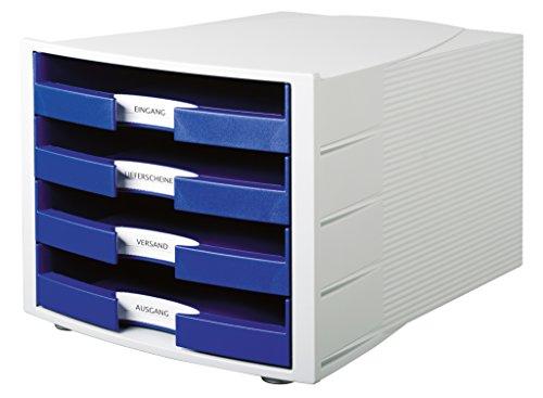 HAN 1011-X-14, module de classement IMPULS, Nouveau! Design innovant et attrayant en qualité de pointe. Comprend 4 tiroirs ouverts avec étiquette d'indexation grand format. Gris clair/bleu