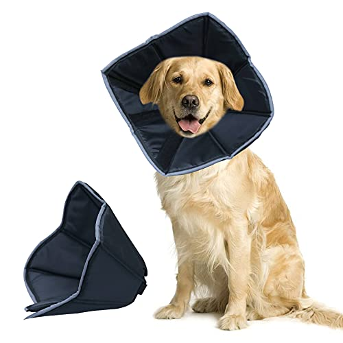 Dunhuang Dog Cone After Surgery with Fluorescent Strip Recovery Collar Elastic Loops-Protective for Wound Healing (L)