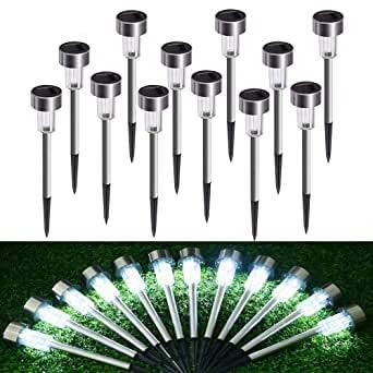 Solar Gartenleuchte Solarlampe LED Solarleuchte aus Edelstahl,12 Stück Wasserdichte Aussenleuchten Energiesparende Wegeleuchten Ideal für außen, Terrasse, Rasen, Garten, Hinterhöfe -Weißes Licht