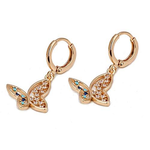 Estrella mariposa mal ojo gota pendientes oro color zircón azul cuelga pendientes para las mujeres niñas joyería de moda