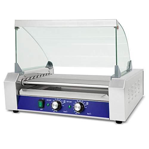 vertes Hot Dog Grill Würstchengrill (9 Walzen, 1800 Watt, 50-250 °C Temperatur, 2 Heizzonen, herausnehmbare Auffangschale, Abdeckung aus gehärtetem Glas, Edelstahl)